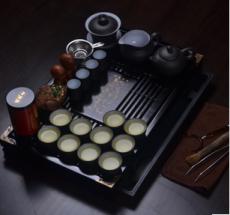 宜兴紫砂茶具套装 实木盘马到功成整套功夫茶器茶杯茶壶盖碗