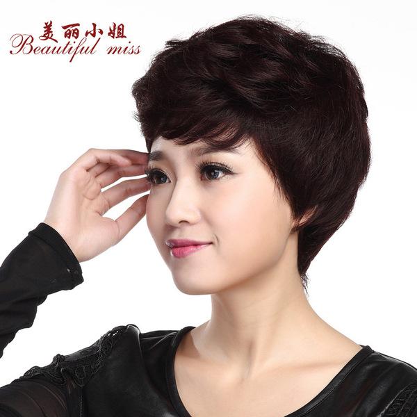 女士中老年妈妈假发 短发蓬松逼真 短卷发高档真发假发套图片