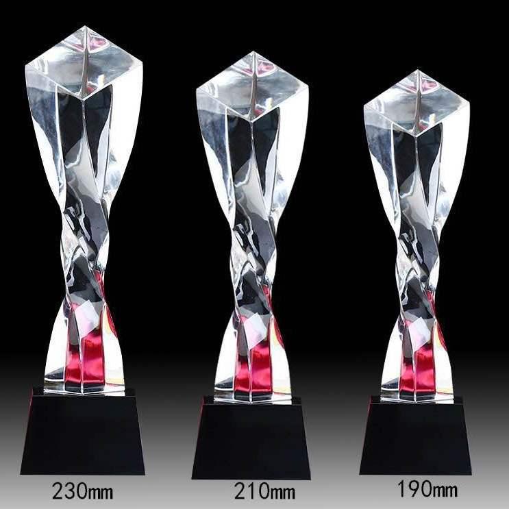 浦江水晶扭柱奖杯 白色三色扭柱水晶奖杯各种颜色扭柱定制 专业水晶奖杯扭柱设计定制