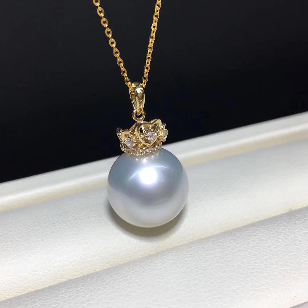 18k托12-13mm澳洲海水白珍珠吊坠 正圆无瑕疵 光泽好
