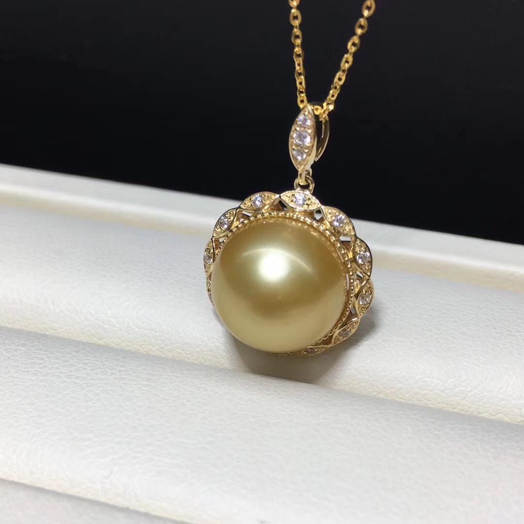 18k金托配天然色金珍珠 11-12mm項鏈