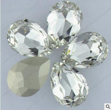 厂家直销 K9料 白色水滴形尖底花式石 水晶异形钻 服饰 玻璃水晶饰品配件