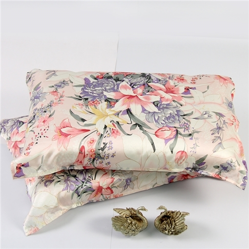 【阳春白雪】依格尔 真丝枕巾枕套 100%桑蚕丝绸系带单面单只枕头套 四季单人枕芯套50×76cm