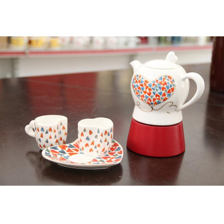 【厂家特价销售】特色心形碎花陶瓷摩卡咖啡壶 情侣咖啡壶 咖啡壶