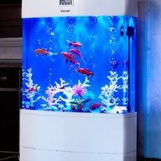新款中型鱼缸水族箱80cm1米亚克力生态创意鱼缸双层水箱
