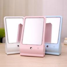 一件代发 喷雾美容补水化妆镜台灯 韩国台式LED梳妆小夜灯 便携桌面加湿器