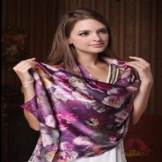 纯真丝丝巾丝绸单卷边一件代发蚕丝女长款真丝新款秋冬披肩围巾