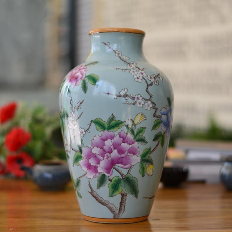 供应现代中式创意彩绘陶瓷工艺品花瓶摆件家居插花器皿客厅装饰品摆设