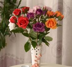 专业销售4头角玫瑰花仿真花情人玫 绢花干花假花家居装饰花餐桌花艺