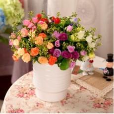 优质供应情人玫瑰花绢花假话干花家居装饰花客厅隔板摆设