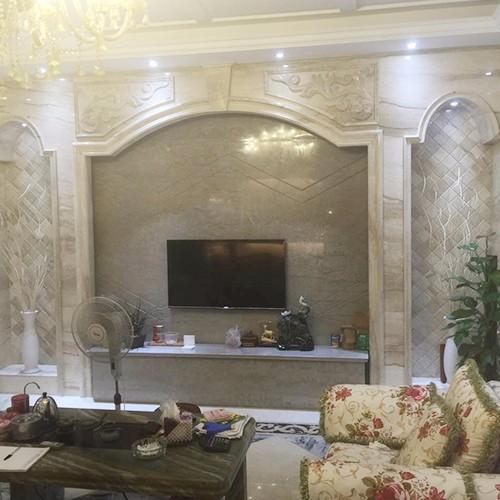 加工定做背景墙整体石材欧式精美新款客厅电视墙图片