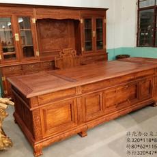 价格面议 非洲花梨木办公桌两件套 红木家具定制
