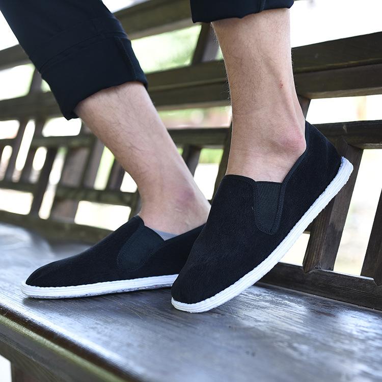 2016夏季新款男士套脚老北京布鞋千层底布鞋中国风简条绒透气布鞋