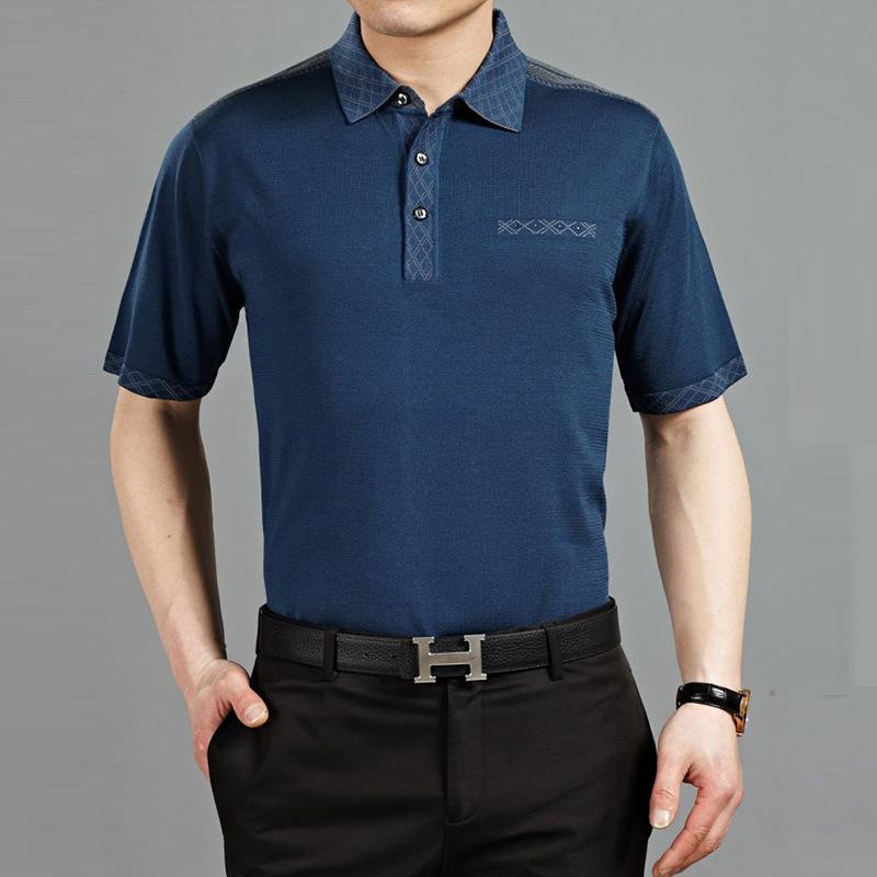 夏装新款品牌男装桑蚕丝短袖t恤 中老年男士翻领纯色真丝t恤厂家