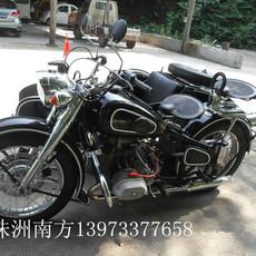 長江750邊三輪摩托車仿古黑底白邊