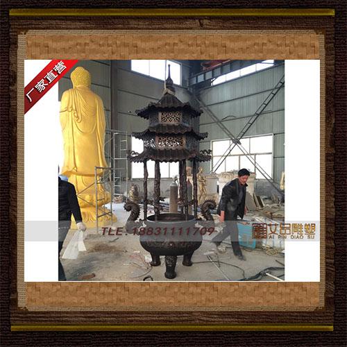 供应 圆形带顶盖大型铜香炉  品牌雕塑     厂家直销