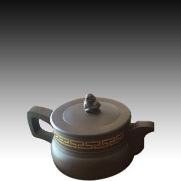 品名:金猴壶 纯手工制作大师壶 泥料:清水泥 作者:艾雅芝