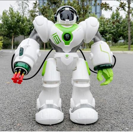儿童智能遥控机器人玩具 机械战警充电男礼物儿童机器人 白绿色 官方标配