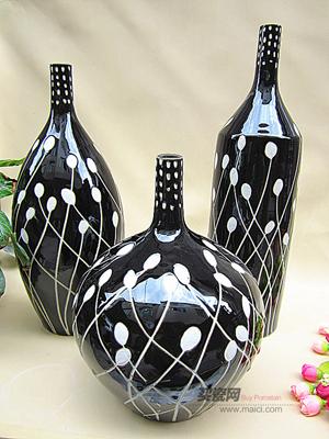 花瓶,黑白点花插三件套