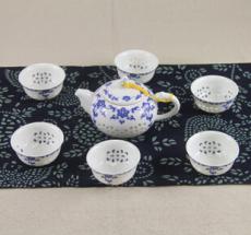 青花玲珑茶具套装 水晶玲珑镂空功夫茶具 厂家直销 礼品茶壶茶杯