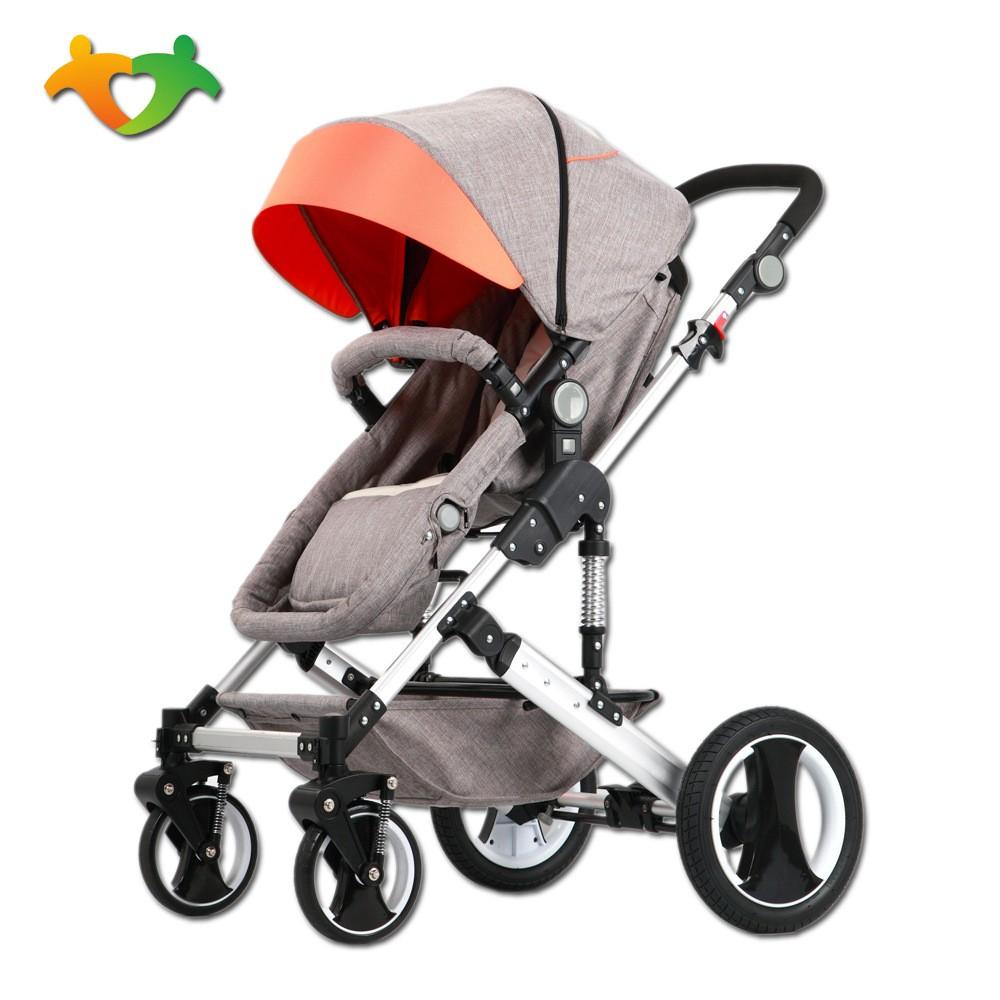 婴儿推车可坐可躺三合一设计座位可变睡蓝可配提篮式安全座椅