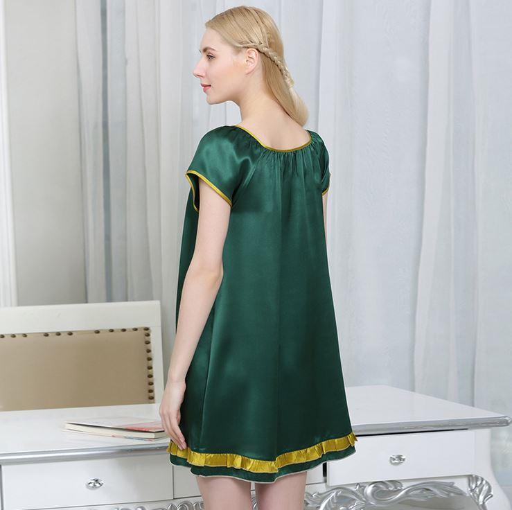 女夏季100%桑蚕丝睡衣性感家居服蕾丝真丝吊带睡裙 睡衣女