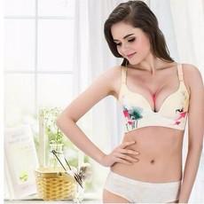 新款清塘荷女士无痕拉丝文胸厂家批发聚拢调整型无痕拉丝内衣套装
