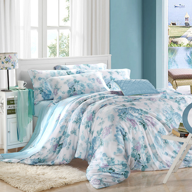 厂家批发天然双面活性印花天丝四件套40天丝床上用品四件套