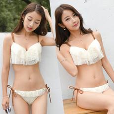 日本原单GRL小胸加厚聚拢钢托性感蕾丝比基尼时尚温泉度假泳衣女