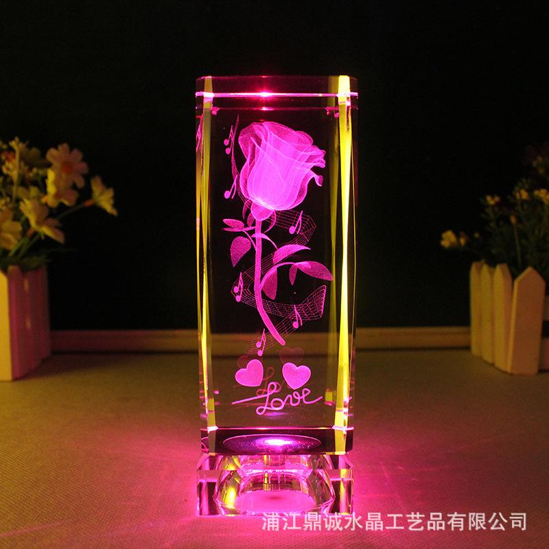 新款水晶玫瑰花内雕装饰摆件创意礼物水晶工艺品工艺摆件