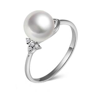 北海珍珠批发  海水珍珠戒指 白色正圆可定制