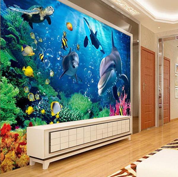 3d立体玉雕电视背景墙客厅瓷砖海底世界