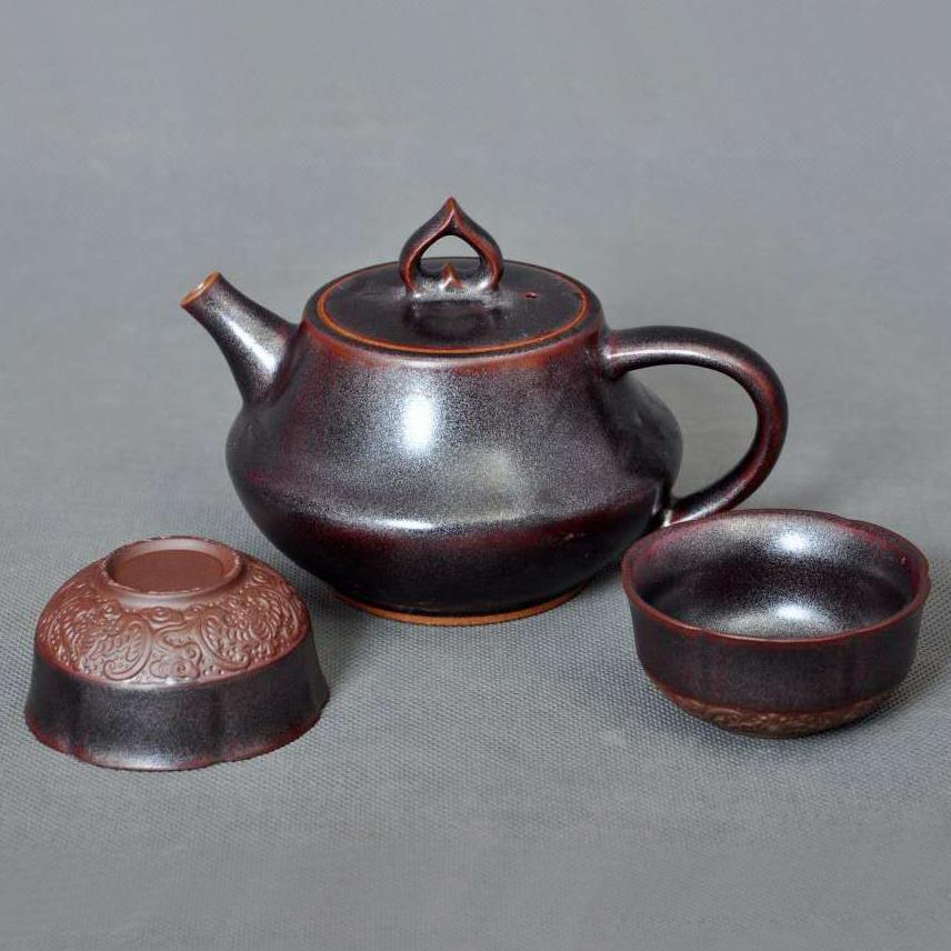 乾名钧窑钧瓷养生茶具开心壶气烧工艺黑金釉礼品工艺品