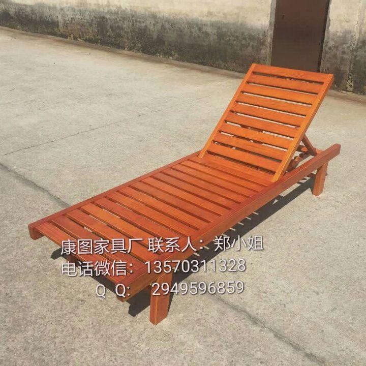 戶外防腐實木沙灘椅 游泳池木質沙灘椅 海灘休閑躺椅