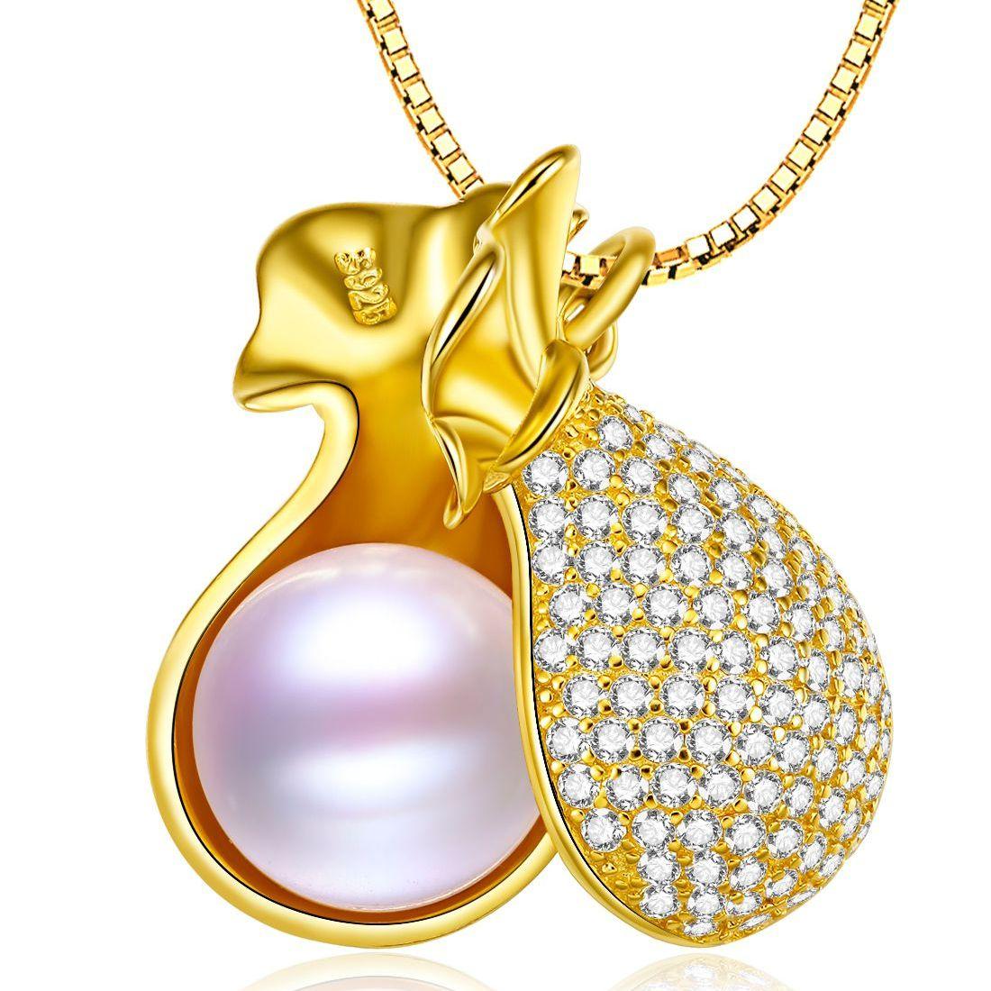 北海珍珠批发   北海珍珠 福袋 9.5-10mm天然珍珠纯银吊坠
