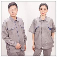 供应浅灰色工作服套装 经典时尚设计  抗磨耐皱  彰显个性 透气耐用  长袖款