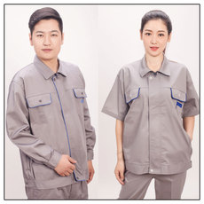 供应浅灰色工作服套装 经典时尚设计 抗磨耐皱 彰显个性 透气耐用 短袖款
