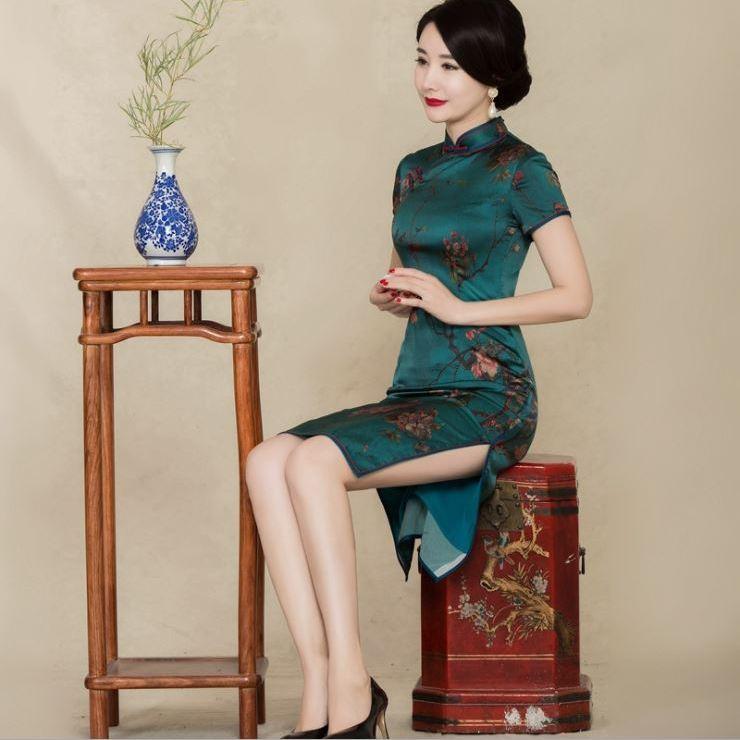 2017春季中长款真丝旗袍连衣裙短袖 修身显瘦短旗袍重磅气质旗袍
