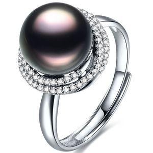 北海珍珠戒指批发10-11mm大溪地黑珍珠戒指