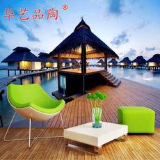 华艺品陶 3D生态瓷砖 釉中彩微晶石平面 马尔代夫风景 3D地板瓷砖 3D釉中彩
