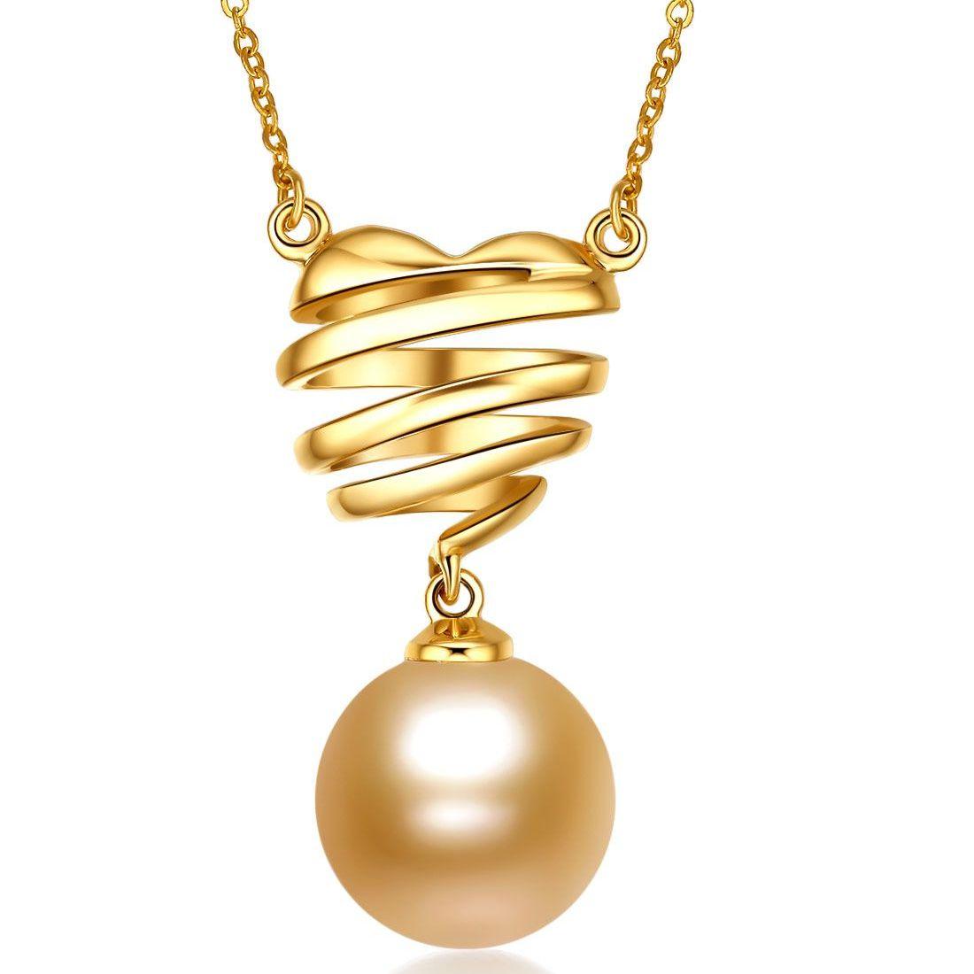 北海珍珠项链批发 18K金9-10mm南洋金珍珠钻石吊坠   项链