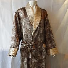 丝绸睡衣 真丝睡衣 顺成纺织丝绸睡衣 方格子印花睡袍睡衣男