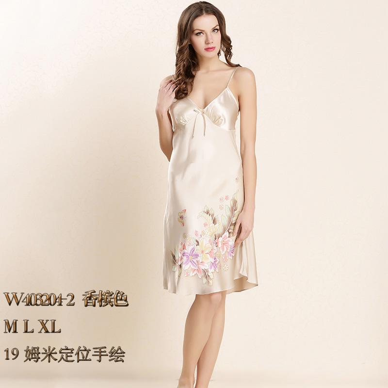 四川顺成纺织品2017真丝性感睡衣女士夏季薄款丝绸桑蚕丝吊带裙W403202