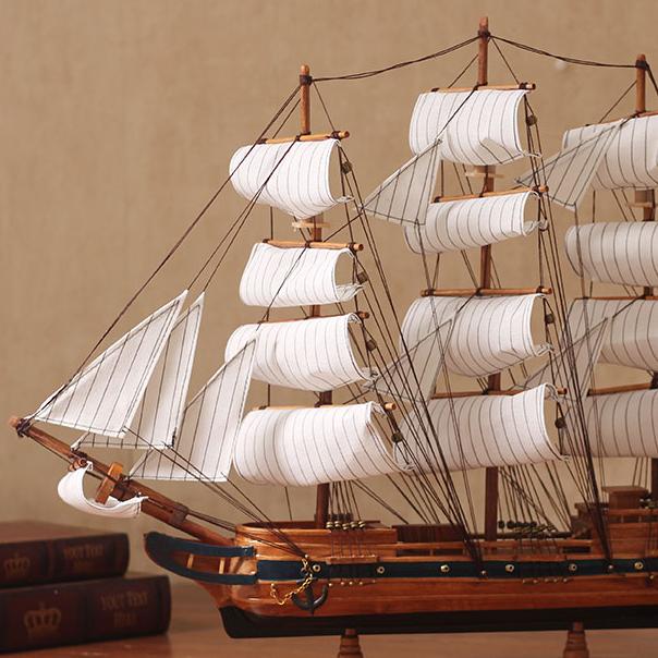 一帆风顺帆船模型摆件仿真实木船酒吧餐厅柜台装饰木质工艺船礼品