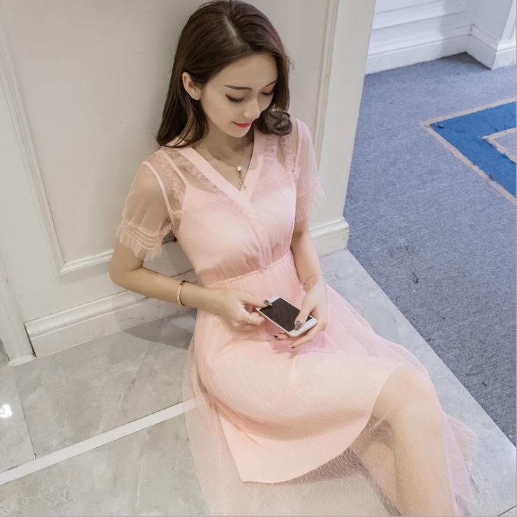女装 夏季新款连衣裙 2017网红 韩版V领网纱拼接松紧腰显瘦女裙