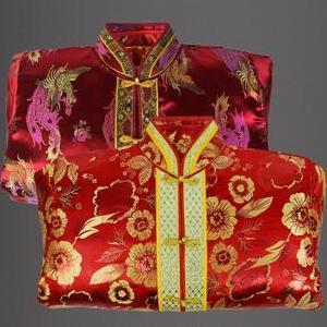 供应 真丝织棉纯棉金皮唐装寿衣