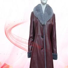 瑞生 冬季新款皮衣 真皮皮衣女中长款 狐狸毛领阳原毛皮