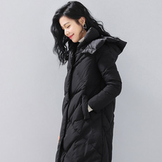 16冬装新款修身大码长款菱形格羽绒服女加厚连帽长袖女装外套