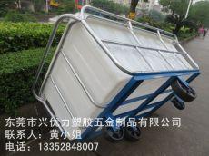 厂家供应:染整厂用防腐蚀方桶推布车 塑料推布车 纺织印染厂用方形推布车