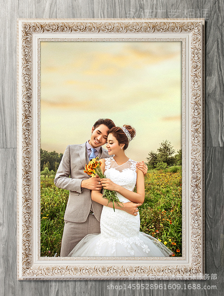 婚纱照相框定制 欧式相框结婚照挂墙相框油画框 钻石图片
